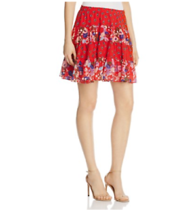 New Beltaine Women's Mixed-Print Shirred Skirt,red,Large         MSRP  128.00