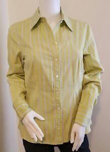 Ann-Taylor-Womens-Size-6-Green-Blue-Striped-Button-Down-Long-Sleeve-Top