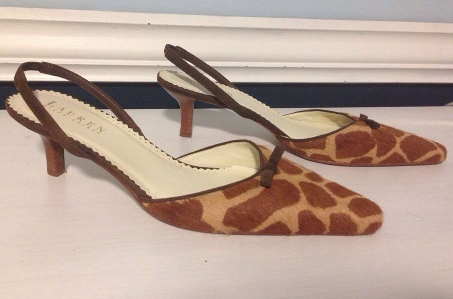 Ralph Lauren Animal Print Kitten Heels Sz 7 B Genuine calf hair/ Leder Brazil