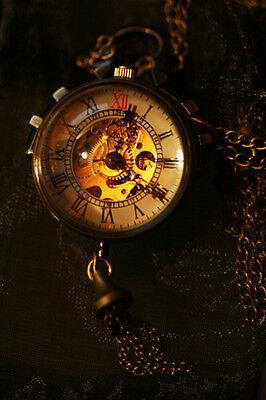 Steampunk Vintage Taschenuhr Mechanisch Skelettuhr Räder Pocket Watch Uhr Kette
