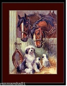 English Poster Print Old English Sheepdog Mother Dog, Pups Horses Art Picture