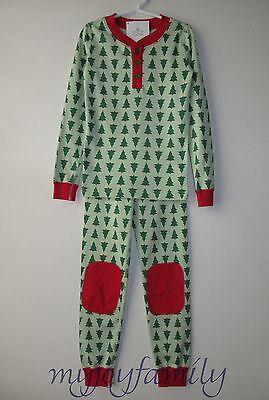 HANNA ANDERSSON Organic Long Johns Henley Pajamas Tannenbaum Tree 120 6-7 NWT