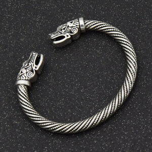 a1df1abf51150 Details about Vikings SILVER Wolves Sacred Arm Ring Pagan NEW Bracelet  FENRIR Ragnar Lothbrok