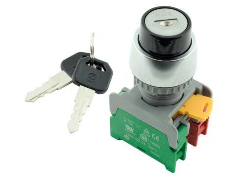 Krs-222 Ati 22mm clave Selector de retorno por resorte momentáneo interruptor 1Ningún 1nc 2 Pos