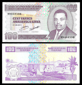 World-Paper-Money-Burundi-100-Francs-2011-P44-Crisp-UNC
