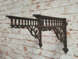 Regalstuetzen-Set-Antik-braun-Vintage-Regalwinkel-Wandhalter-Wandregal-Regal