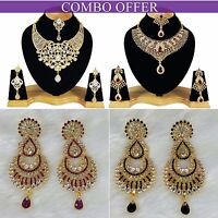 Handmade Combo Offer Gold Plated Zerconic Kundan Necklace Sets Earrings Co007