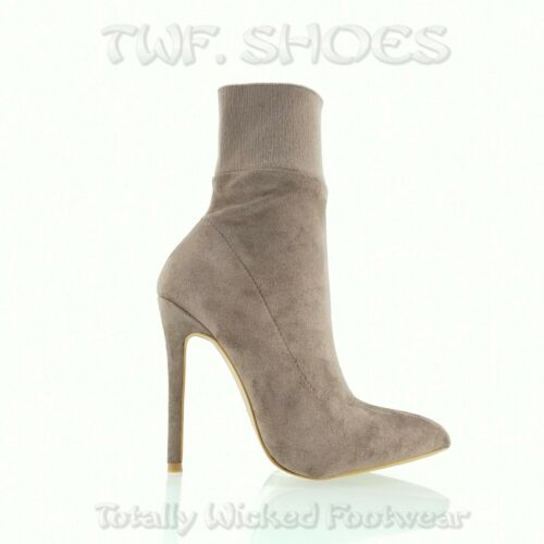 """So Me Jersey Knit Top Vegan Suede 4.5/"""" High Heel Pointy Toe Ankle Boots Taupe"""