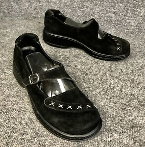 Dansko-Womens-Fran-Stitched-Black-Suede-Mary-Jane-Buckle-Shoes-Sz-40-US-9-5-10