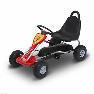 Pedal Go Kart Kids Children Racing Wheel Rider w/ Hand Brake, Red Black