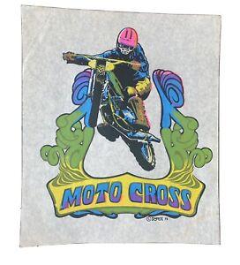 Vintage 1970s motocross motorcycle guy on bike iron on t shirt transfer