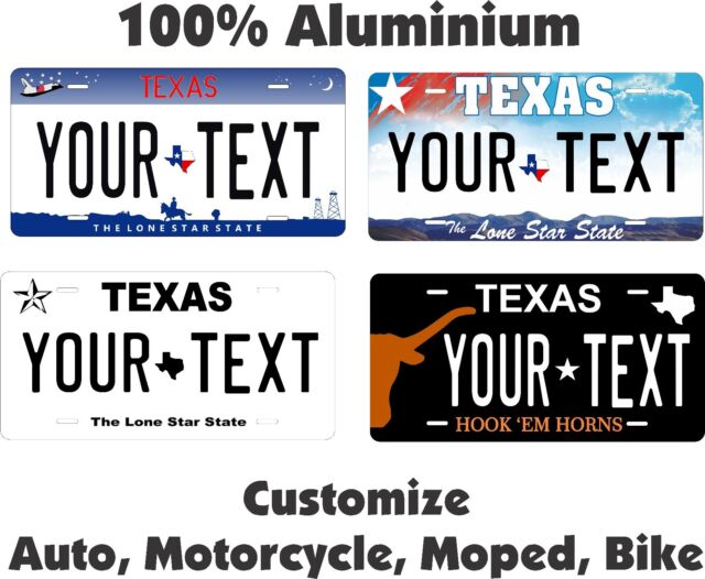 Texas Star Tag License Plate Personalized Auto Car Custom VEHICLE OR MOPED