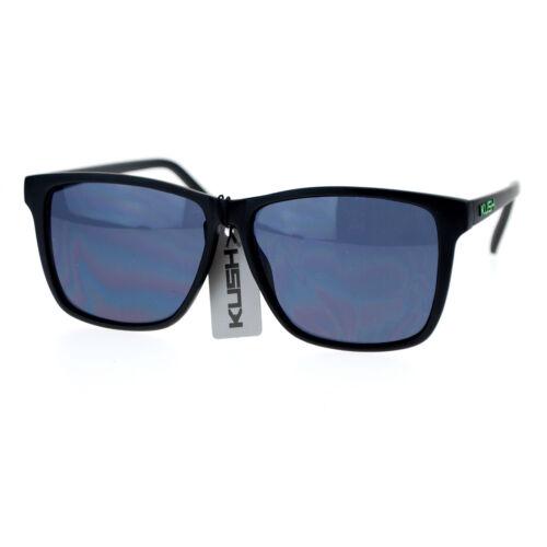 Kush Marijuana Mens Thin Matte Plastic Oversize Rectangular Sunglasses