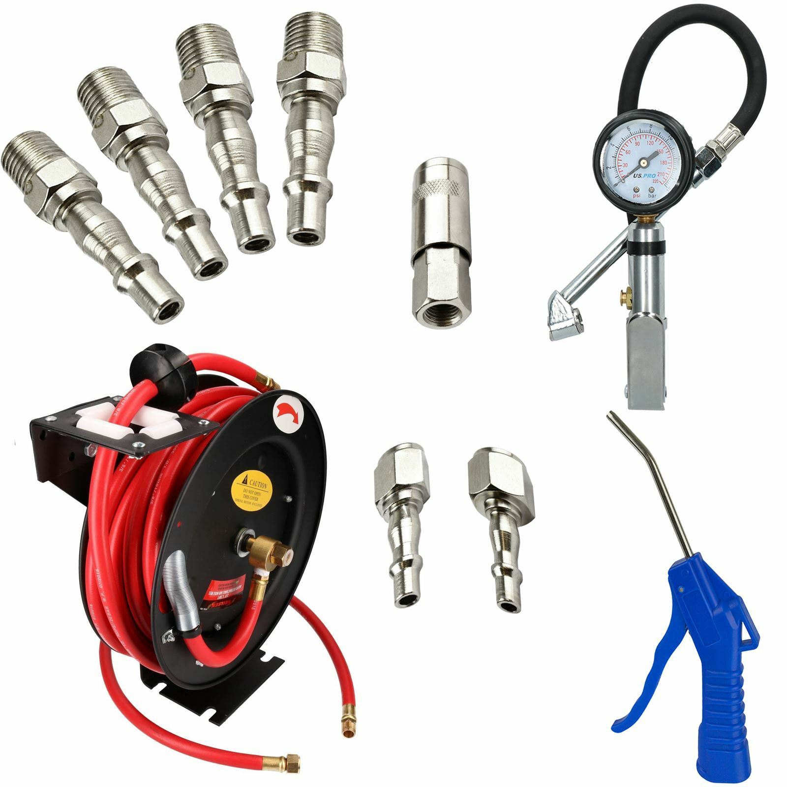 3 8  BSP Retractable Air Hose Kit With Fittings   Tyre Inflator   Blow Dust Gun