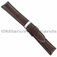 20mm Morellato Forest Padded Genuine Leather Brown White Stitch Watch Band 2987