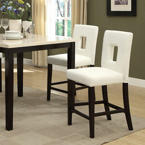 Image Is Loading Modern White Faux Leather Counter Height Chair Set
