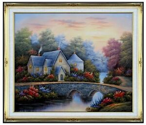 Framed-Streamside-Cottage-Repro-Hand-Painted-Oil-Painting-20x24in
