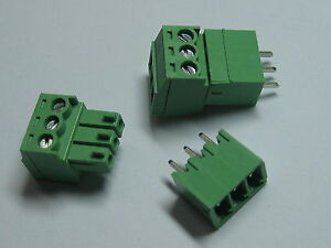 150-pcs-Screw-Terminal-Block-Connector-3-5mm-3-pin-way-Green-Pluggable-Type-New