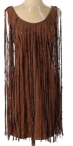 Haute Hippie Shift Dress Brown Suede Fringe tassel