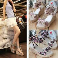 Bohemian style women shoes strappy Espadrilles platform wedge heeled sandals