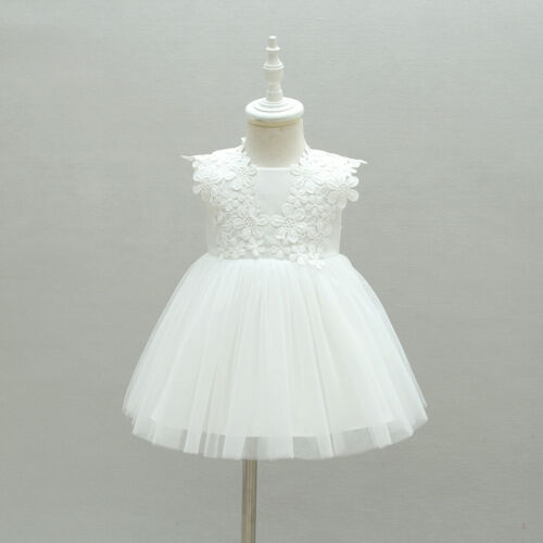 Off White New Born Baby Baptism Dress Floral Embroidery Christening Lace Gown