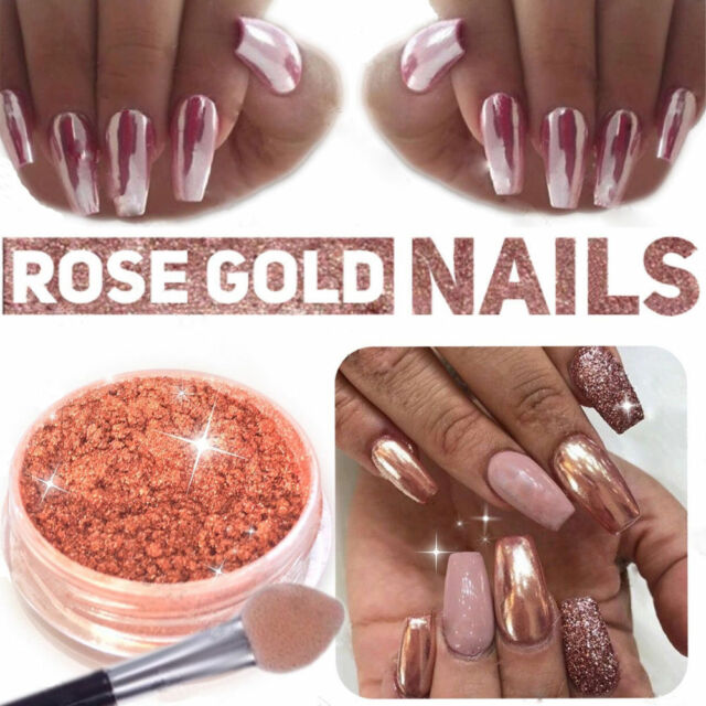 Rose Gold Magic Nails Dust Polish Powder Mirror Chrome Effect ...