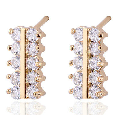 Square 2Row Small Circle CZ Stud Earrings Fashion Jewelry Earings Girls
