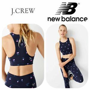 🆕J. CREW NEW BALANCE XS Women's NAVY Performance Crop Top Cherry Print Yoga Fit