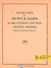Brown Amp Sharpe No 13 Grinding Parts Manual Year 1942