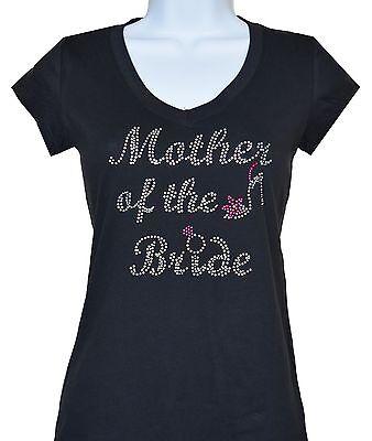 RHINESTONE MOTHER OF THE BRIDE T-SHIRT,BLACKS,SIZE:S,M,L,XL,1XL,2XL,3XL SHIRTS