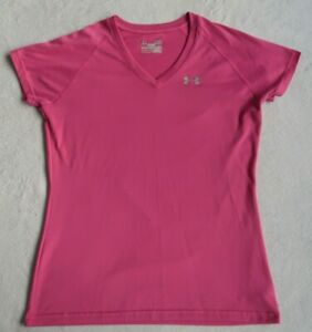 Under-Armour-Women-039-s-Stretch-Semi-Fitted-Heat-Gear-S-S-V-Neck-Pink-T-Shirt-S