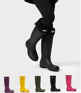feb8da93b040 Women s HUNTER Original Tall Matte Black Pull On Rain Boots NEW