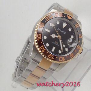 40mm-parnis-Black-dial-Saphirglas-GMT-LUME-Automatisch-Movement-Uhr-men-039-s-Watch