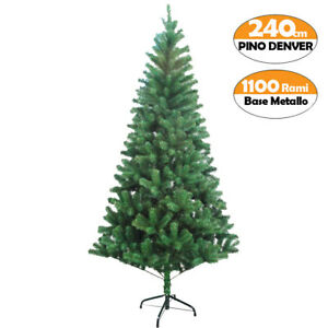 Albero Di Natale 240 Cm.Albero Di Natale 240 Cm Denver Base A Croce Folto Ecologico 1100 Rami Verde Ebay