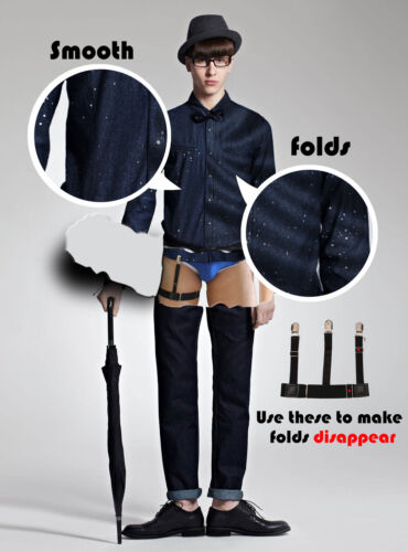 2 Pcs Shirt Suspenders Men Leg Y Style Thigh Elastic Stays Holder Uniform NEW