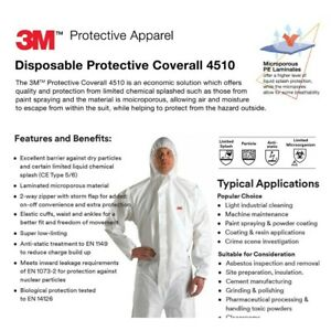 EACH - 3M Protective Coverall Suit 4510 Safety Suit w/ Hood - Size: Lg