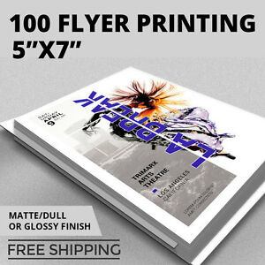 Details about 100 Flyer Printing - 5x7 Custom - Full Color - Thick Stock -  Glossy or Matte