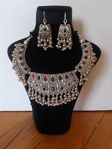 Parure-Collier-Tribal-et-Boucles-d-039-oreille-Artisanat-Inde-Kutch-Gujarat-22