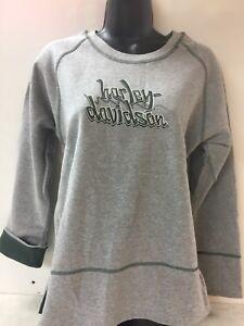 Harley-Davidson-Women-039-s-Sweatshirt-Gray-w-green-Super-cute-Medium