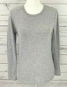Sonoma-Top-Womens-Small-S-Gray-Solid-Scoop-Neck-Long-Sleeve-Stretch-Cotton