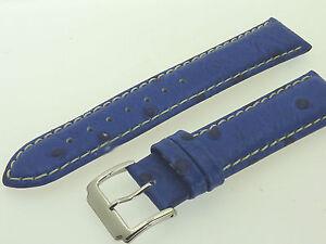 # L228 # Uhrenarmband Leder Juwelier QualitÄt 20 Mm Blau Naht Straußen-optik Heller Glanz