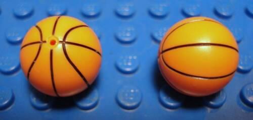 LEGO LEGOS Set of 2 New Orange Sports Basketball with Standard Lines Pattern