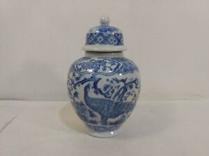 Vintage-Action-Blue-amp-White-Peacock-amp-Cherry-Blossom-Ceramic-Lidded-Jar-hd2873