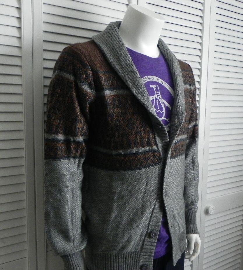 NEW  Herren SIZE XXXL 3XL ALPACA grau Shawl Collar Cardigan Pattern Sweater PERU