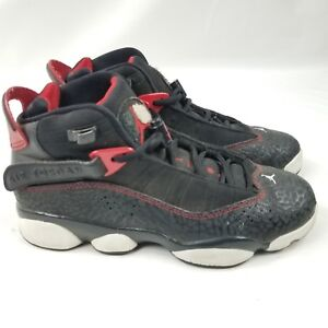 buy online a5782 02149 Details about Nike Air Jordans boys size 5.5C 6 rings sneakers basketball  Black Red 323419-020