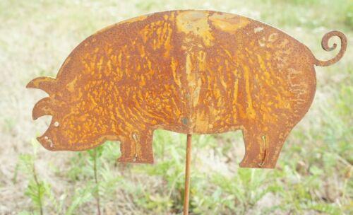 """Edelrost von Vosteen Toller Gartenstecker Beetstecker /"""" Schwein /"""" aus Metall"""