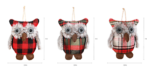 "3.5/"" x 4/""H Christmas Plaid Fabric Owl Christmas Tree Ornament Assortment"