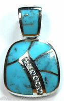 Handcrafted Blue Turquoise Inlay & White Topaz 925 Sterling Silver Pendant