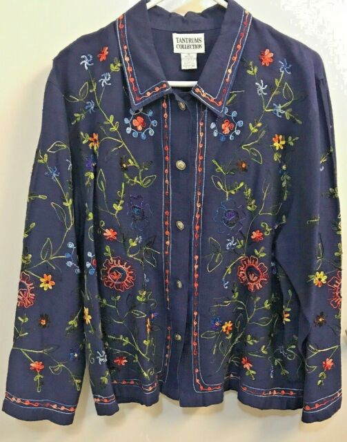 Embroidered Blouse TANTRUMS COLLECTION Blue size XL Over TOP Shirt Long Sleeve
