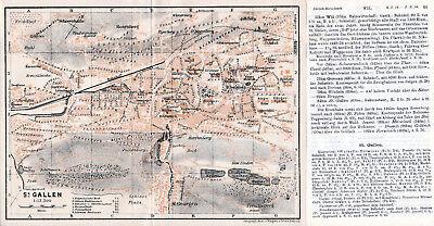 St. Gallen 1927 Kl. Orig. Stadtplan + Reisef. (4 S.) Apfelberg Harfenberg Stahl Produkte HeißEr Verkauf